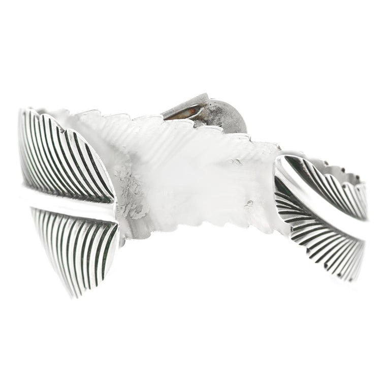 Navajo Feather Motif Cuff For Sale 2