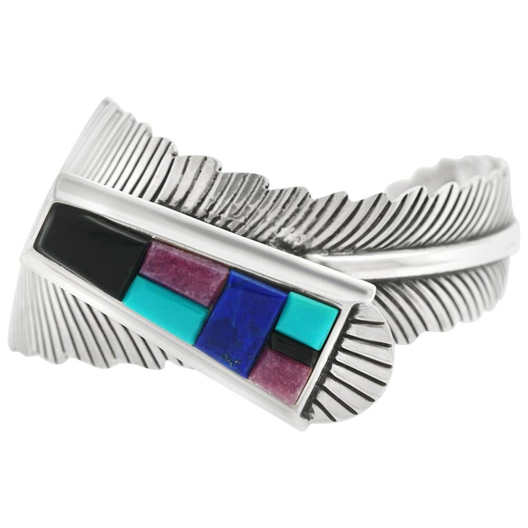 Navajo Feather Motif Cuff For Sale