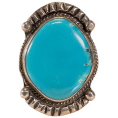 Navajo Fox White Horse Turquoise and Sterling Ring