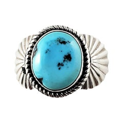 Navajo Francis Fred Sterling Silver Turquoise Ring
