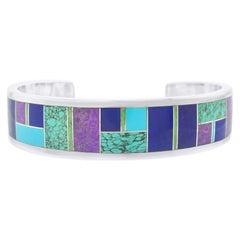 Navajo Geometric Inlaid Sterling Cuff Bracelet