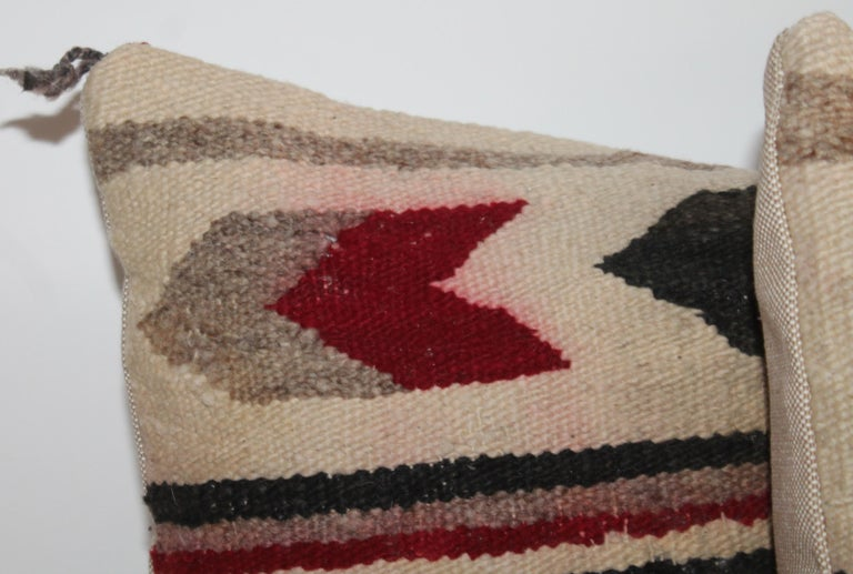 Navajo Indian geometric pair of pillows Navajo geometric chevron, stripe, and water pattern. Weaving is in stunning condition with minor fade.