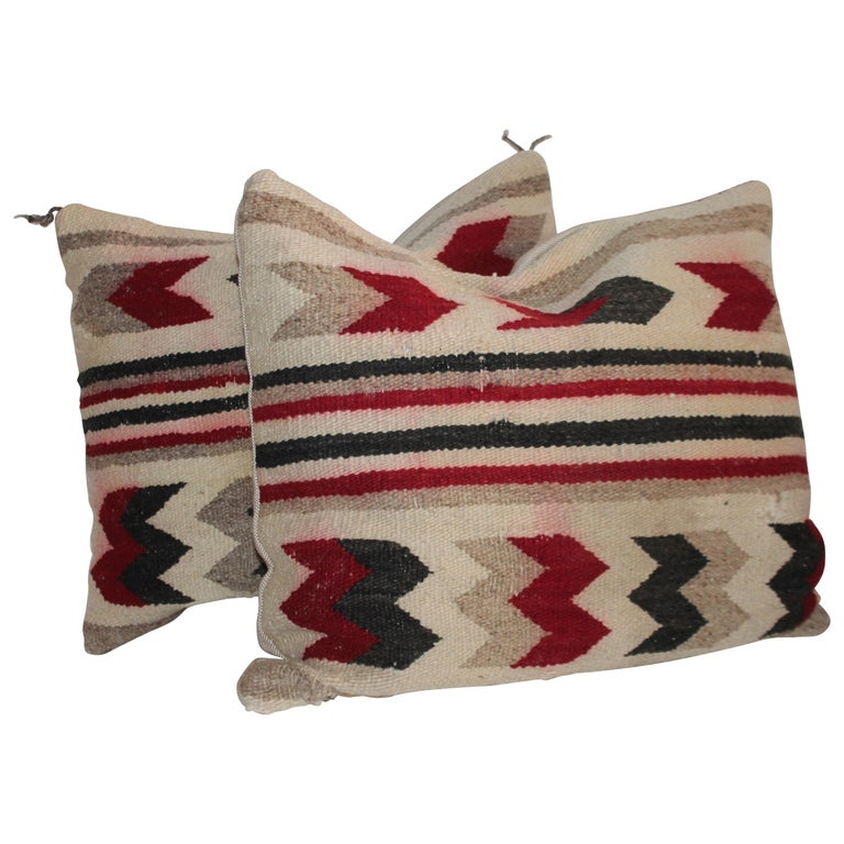 Navajo Indian Geometric Pair of Pillows For Sale