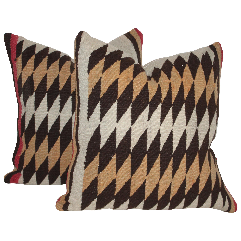 Navajo Indian Geometric Weaving Pillows, Pair