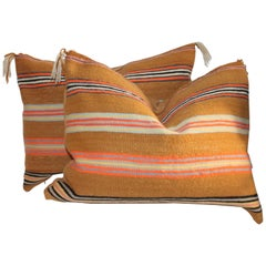 Navajo Indian Saddle Blanket Pillows, Pair