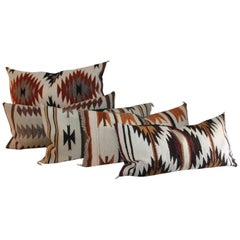 Navajo Indian Saddle Blanket Weaving Bolster Pillows / Collection of Five