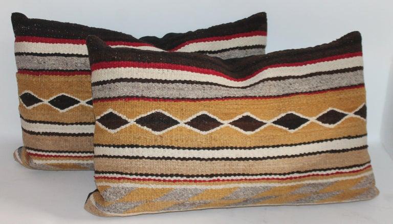 Adirondack Navajo Indian Weaving Bolster Pillows / 2 Pairs For Sale