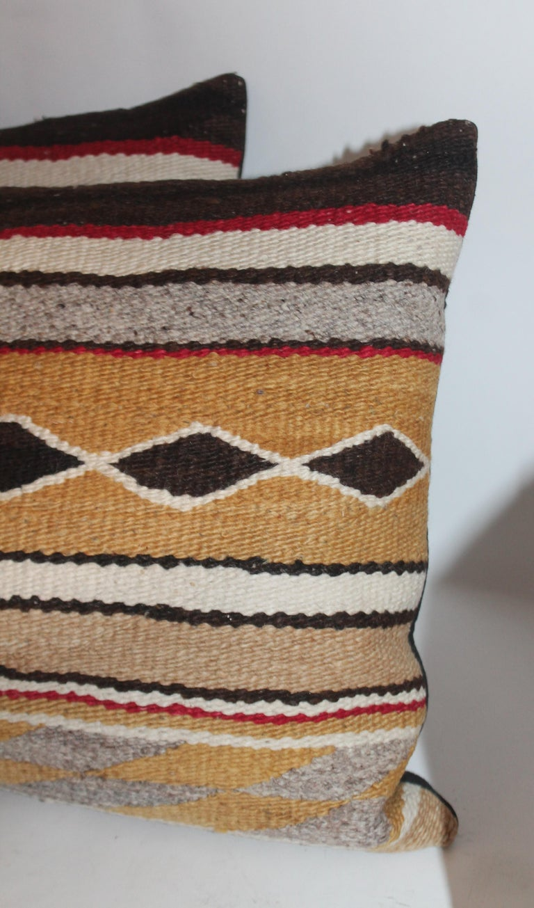 American Navajo Indian Weaving Bolster Pillows / 2 Pairs For Sale