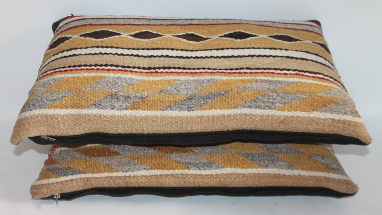 Hand-Crafted Navajo Indian Weaving Bolster Pillows / 2 Pairs For Sale