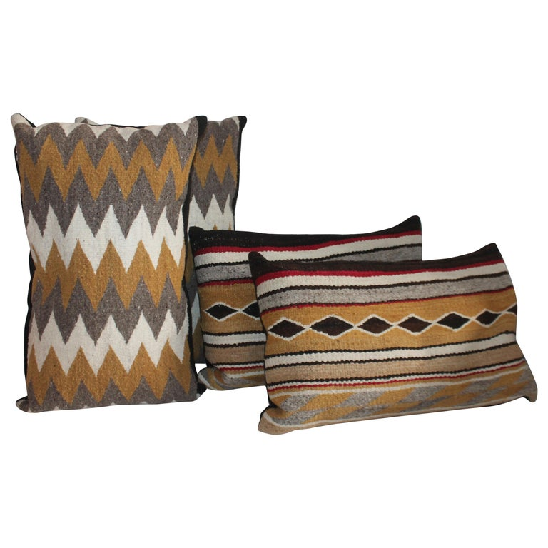 Navajo Indian Weaving Bolster Pillows / 2 Pairs For Sale