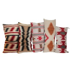 Navajo Indian Weaving Bolster Pillows, Collection of Five