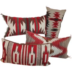 Navajo Indian Weaving Bolster Pillows, Collection of Four