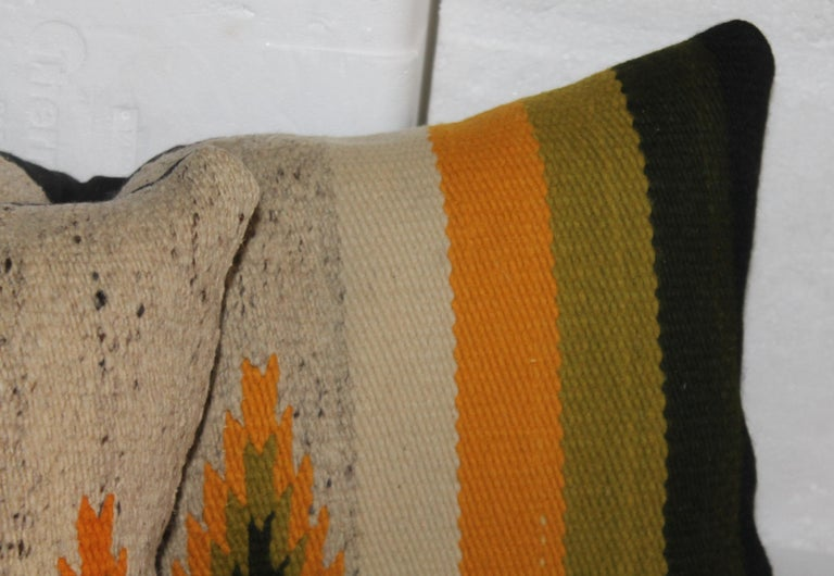 Hand-Woven Navajo Indian Weaving Bolster Pillows, Pair For Sale