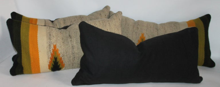20th Century Navajo Indian Weaving Bolster Pillows, Pair For Sale
