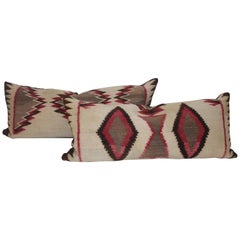 Navajo Indian Weaving Bolster Pillows / Pair