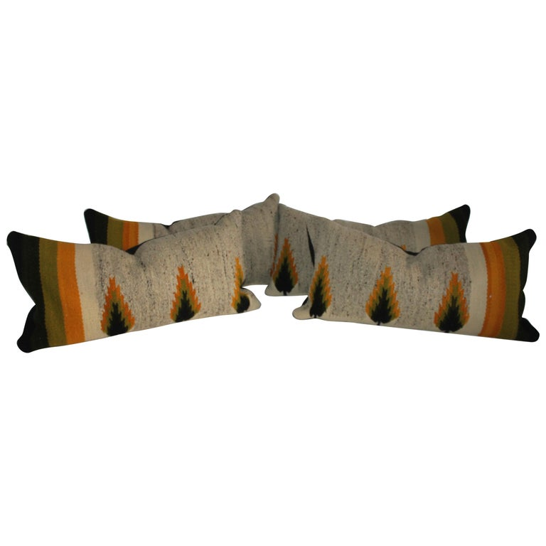 Navajo Indian Weaving Bolster Pillows, Pair For Sale