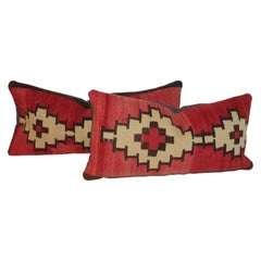 Navajo Indian Weaving Bolster Pillows, Pair