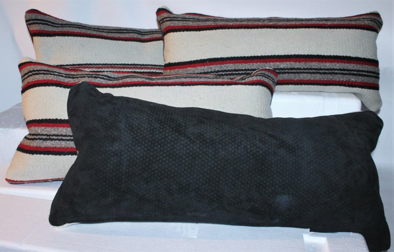 Wool Navajo Indian Weaving Bolster Pillows / Pairs For Sale