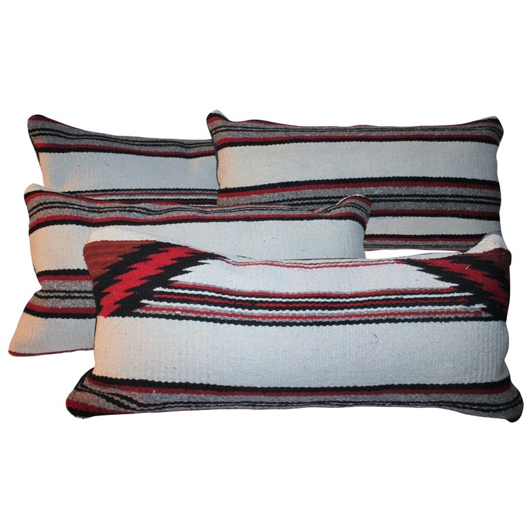 Navajo Indian Weaving Bolster Pillows / Pairs For Sale