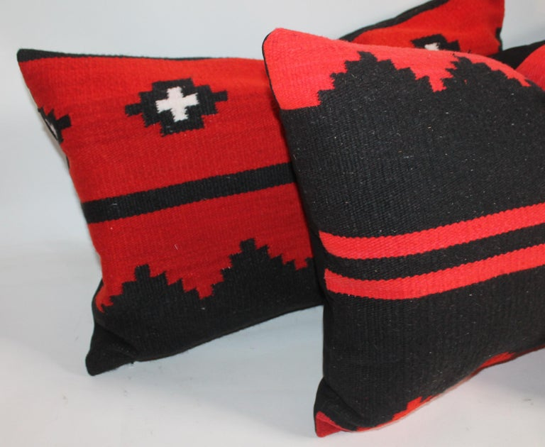 American Navajo Indian Weaving Bolster Pillows, Set of 3 For Sale