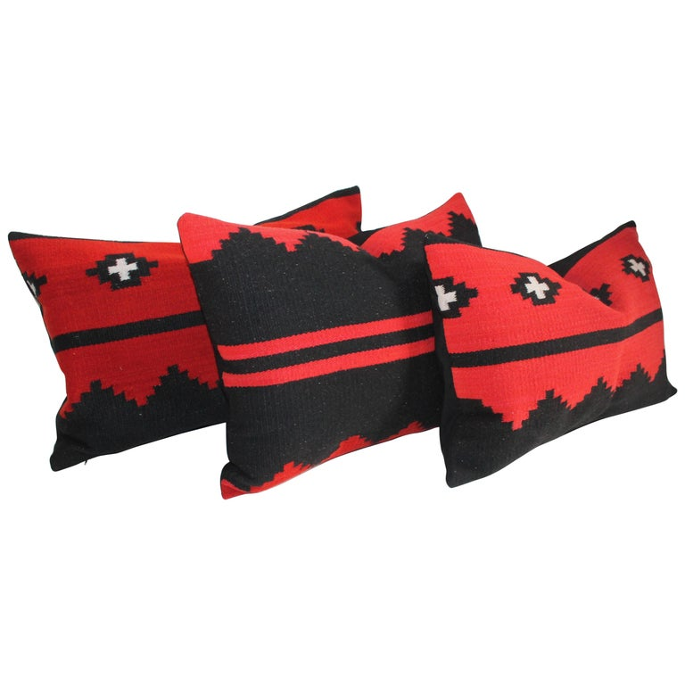 Navajo Indian Weaving Bolster Pillows, Set of 3 For Sale