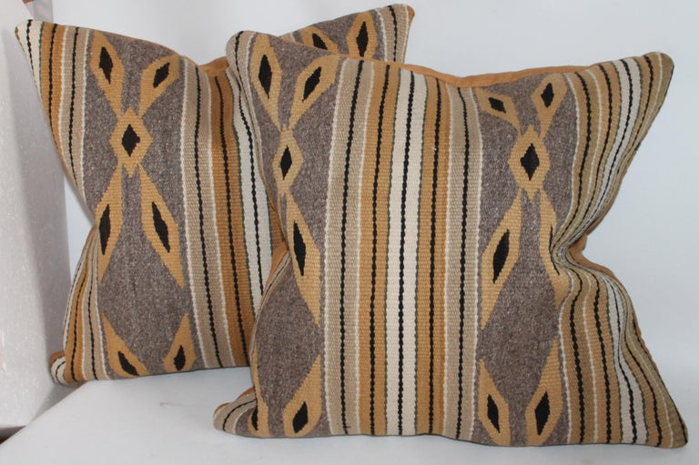 Adirondack Navajo Indian Weaving Chinlie Pillows, Pair For Sale
