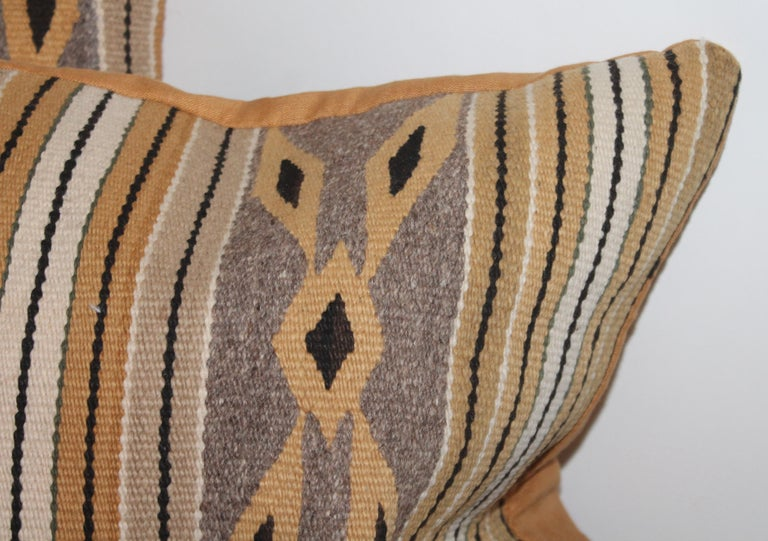 American Navajo Indian Weaving Chinlie Pillows, Pair For Sale