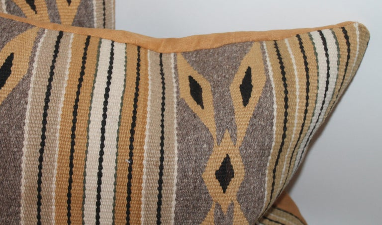 20th Century Navajo Indian Weaving Chinlie Pillows, Pair For Sale