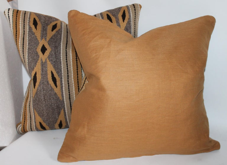 Linen Navajo Indian Weaving Chinlie Pillows, Pair For Sale