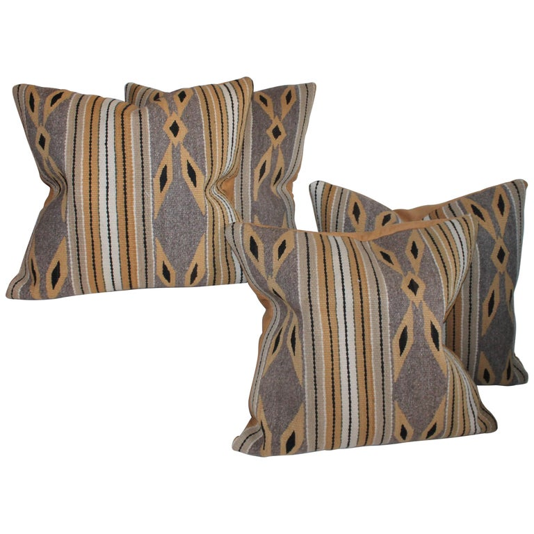 Navajo Indian Weaving Chinlie Pillows, Pair For Sale