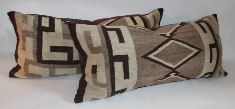 American Navajo Indian Weaving Geometric Bolster Pillow For Sale