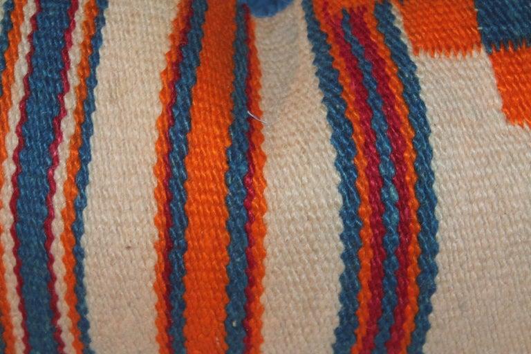 Adirondack Navajo Indian Weaving Geometric Bolster Pillows, Pair For Sale