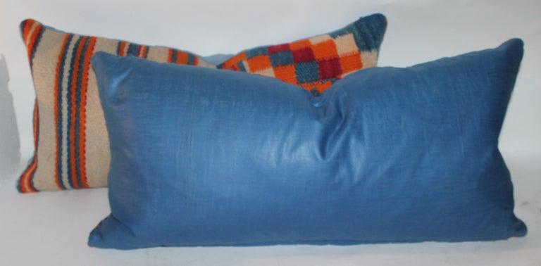American Navajo Indian Weaving Geometric Bolster Pillows, Pair For Sale