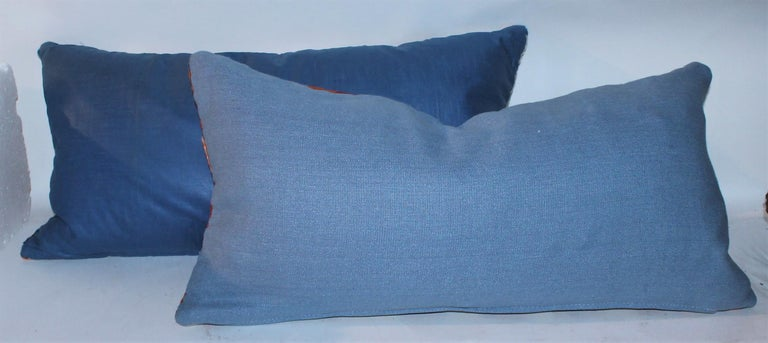 Hand-Crafted Navajo Indian Weaving Geometric Bolster Pillows, Pair For Sale