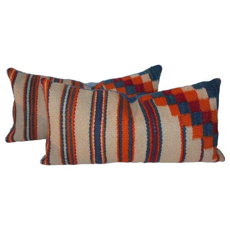 Navajo Indian Weaving Geometric Bolster Pillows, Pair For Sale