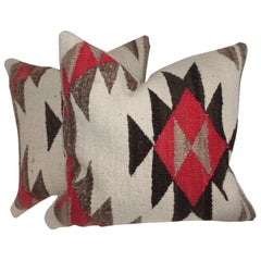 Navajo Indian Weaving Geometric Pillows, Pair