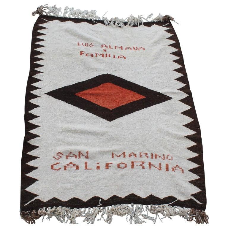 Navajo Indian Weaving Made for Luis Almada Familia in San Marino, California For Sale