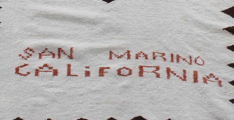 Hand-Woven Navajo Indian Weaving Made for Luis Almada Familia in San Marino, California For Sale
