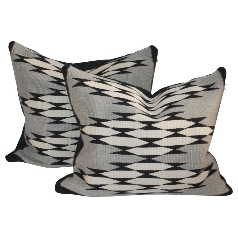 Navajo Indian Weaving Pillows, Pair For Sale