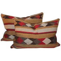 Navajo Indian Weaving Pillows with Leather Backings / Pair