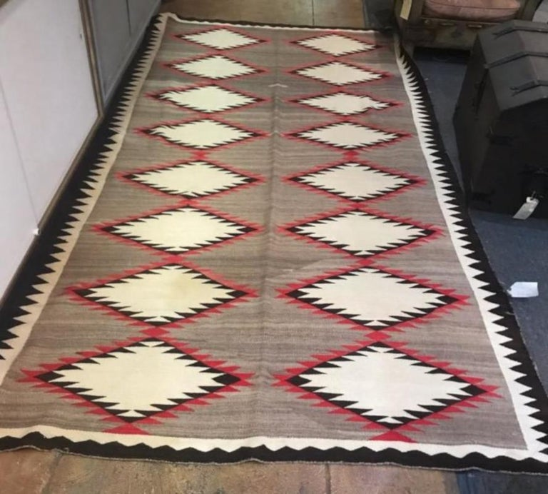 Adirondack Navajo Indian Weaving Runner or Room Size Rug, Monumental For Sale