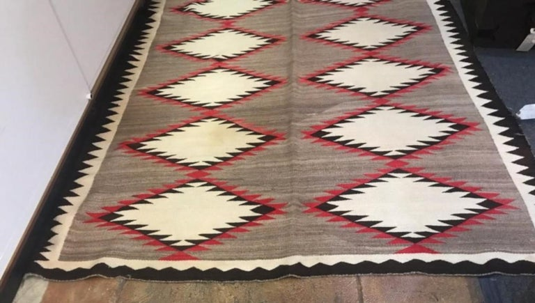 American Navajo Indian Weaving Runner or Room Size Rug, Monumental For Sale