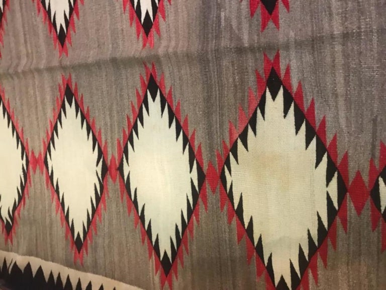 Hand-Knotted Navajo Indian Weaving Runner or Room Size Rug, Monumental For Sale