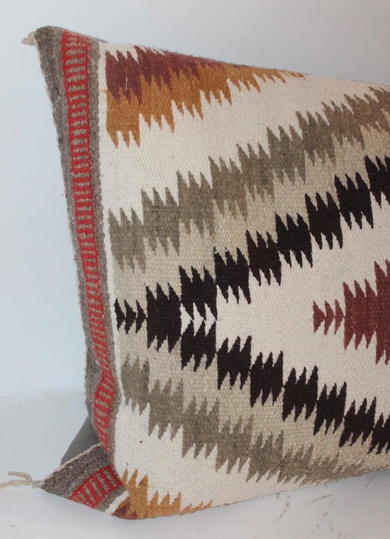 Linen Navajo Indian Weaving Saddle Blanket Pillows, 2 For Sale