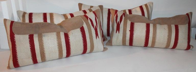 Adirondack Navajo Indian Weaving / Saddle Blanket Pillows, Pair For Sale