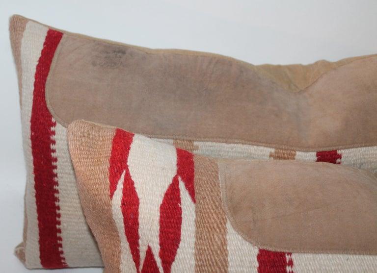 Adirondack Navajo Indian Weaving Saddle Blanket Pillows, Pair For Sale