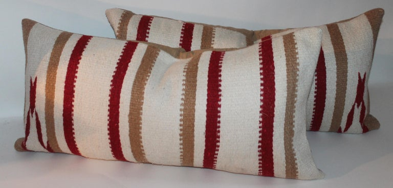 Hand-Crafted Navajo Indian Weaving / Saddle Blanket Pillows, Pair For Sale