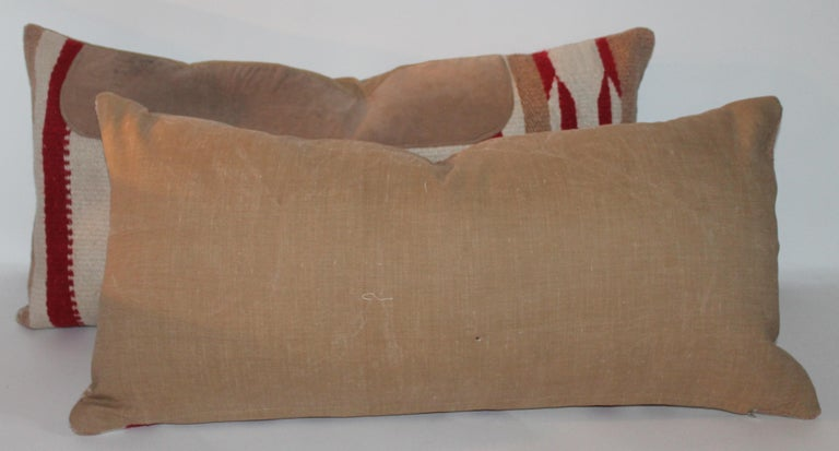 Hand-Woven Navajo Indian Weaving Saddle Blanket Pillows, Pair For Sale