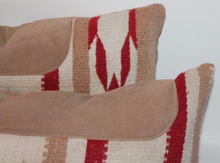 Navajo Indian Weaving Saddle Blanket Pillows, Pair In Excellent Condition For Sale In Los Angeles, CA