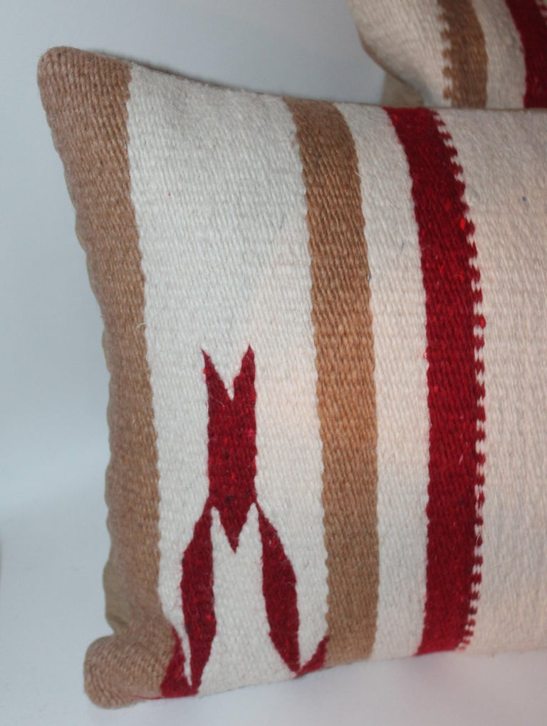 20th Century Navajo Indian Weaving / Saddle Blanket Pillows, Pair For Sale